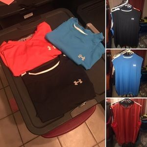3 Under Armour Size L Work Out Shirts Gently Used